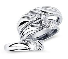 Diamond Engagement Rings Set Wedding Bands White Gold Men Ladies  | mens wedding rings