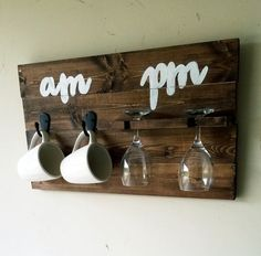 AM PM coffee and wine glass holder how to tell by MorganDMDesigns