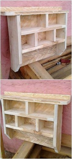 You can often think about using the old dumped wood pallet in the effective means of creating the wood pallet wall shelf design. Here the different divisions has been put together in order to add up your decoration pieces.