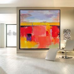 Handmade Large Contemporary Art Canvas Painting por CelineZiangArt