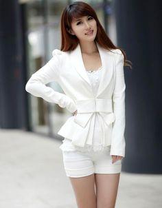Women's Big Bowknot Career OL White Slim Suit Coats Jackets $8.53