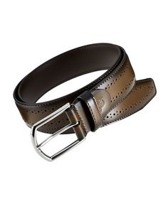 Canali - Leather Belt in Cocoa Brown Size 46 Style #20047361