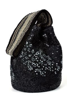 Black Lique Mochila Bag from the #SilviaTcherassi Wayúu Collection. Crystallized with Swarovski crystals.
