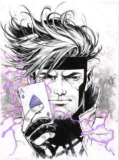 Gambit Wonder Con doodle 2017 by aethibert Gambit Marvel, Gambit X Men, Rogue Gambit, Comic Books Art, Comic Art, Book Art, Comic Pics, Arte Dc Comics, Marvel Heroes