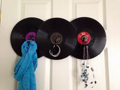 Record hat and coat rack using vintage 78's by MusicAsArtBySarah