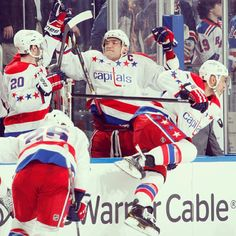 Washington Capitals celebrate after winning at Madison Square Gardens against the NY Rangers.