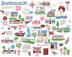 Commissioned custom map of Birmingham, Alabama.