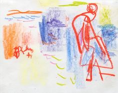 Hans Hofmann, Untitled, c. 1941, crayon on paper, 8 1/2 X 11 inches