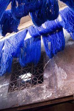 blue silks and window, marrakesh
