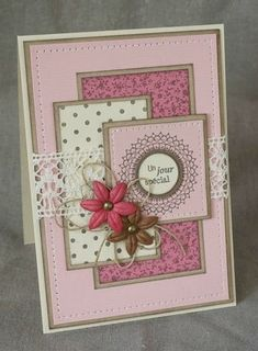 World Card Making Day 2015 par Christine - Espace Créatif VC scrapbook cards Birthday Cards For Women, Handmade Birthday Cards, Happy Birthday Cards, Greeting Cards Handmade, Diy Birthday, Birthday Card Messages, Paper Cards, Diy Cards, Women's Day Cards