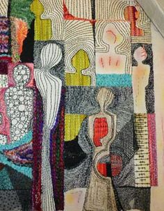 contemporary abstract textile art Mary Ruth Smith - embroidery (detail)