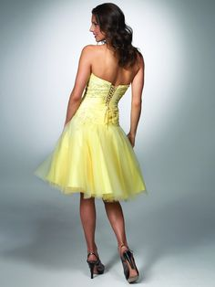 Cute A-line Strapless Knee-length Organza Appliques Yellow Homecoming Dresses - $124.99 - Trendget.com