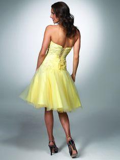 Cute A-line Strapless Knee-length Organza Appliques Yellow Homecoming Dresses - $124.99 - Trendget.com