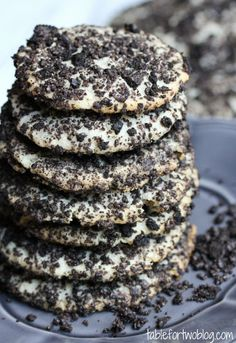 Oreo Cheesecake Cookies with Unsalted Butter, Cream Cheese, Granulated Sugar, Vanilla Extract, Flour, Mini Chocolate Chips, OREO® Cookies.