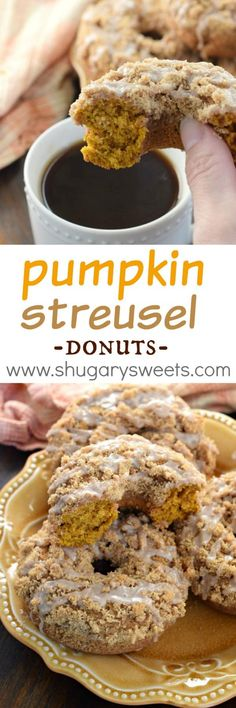 Nutritious Snack Tips For Equally Young Ones And Adults This Easy Fall Recipe For Pumpkin Streusel Donuts Results In A Delicious, Moist Donut Topped With A Brown Sugar Crumble And Cinnamon Glaze, You've Got To Try Them Fall Desserts, Just Desserts, Thanksgiving Desserts, Donut Recipes, Baking Recipes, Pumpkin Recipes, Fall Recipes, Breakfast Recipes, Dessert Recipes