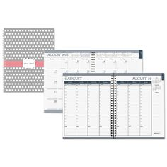 """Recycled Academic Monthly/weekly Hard Cover Planner, 7"""" X 9"""", Dots, 2016-2017"""