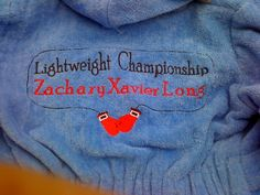 A baby bath robe for a boy's gift.  Gloves from emblibrary.com.  Sharyn