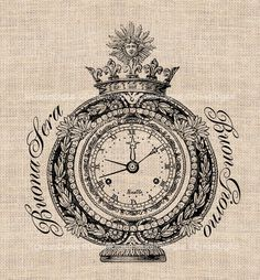 Vintage Clock Italian Digital Download for Image Transfer to Fabric Pillows Shabby Chic Burlap Printable Image  No.223. $3.50, via Etsy.