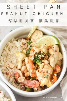 Sheet Pan Peanut Chicken Curry Bake | Meal Plan Addict. Sheet Pan Peanut Chicken Curry Bake recipe will surprise you with its simplicity and layers of flavor. Delight your taste buds in just 30 mins. For more Quick Dinner Recipes go to www.mealplanaddict.com #mealplanaddict #quickdinner #chickenrecipes Peanut Chicken, Chicken Curry, Quick Dinner Recipes, Quick Meals, Curry Bowl, Peanut Butter Sauce, Baked Chicken Breast, Lunch Meal Prep, Meals For The Week