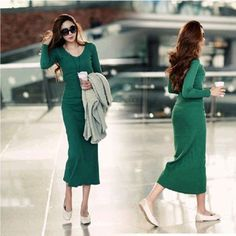 Vestido hot winter women Long Dress of micro V-neck dress sexy Slim package hip tight knit bottoming Dress Autumn Dress Vestidos  #model #fashion #hair #style #outfit #cute #purse #styles #jewelry #stylish #beauty #makeup #beautiful #jennifiers #outfitoftheday