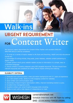 Hiring #Content #Writers (FRESHERS & Exp1-3)yrs  Should have excellent communication skills  Should have passion in content #writing  Location:Hyderabad  Interested Candidates can schedule interview by calling 7093019599/04023353050 or forward CV to  careers@wishesh.net  #jobs #Content #Writer #Hyderabad #Freshers #Exprienced #SendResume #RecruitmentandPlacements