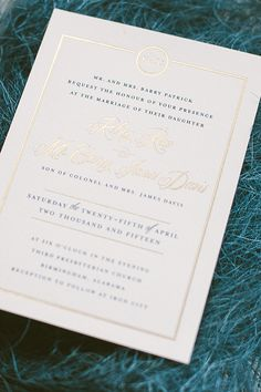 Oh So Beautiful Paper: Kelsey + Carey's Timeless Navy and Gold Foil Wedding Invitations