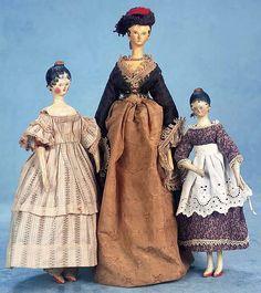 Wooden Grodnertal Dolls with Original Costumes.