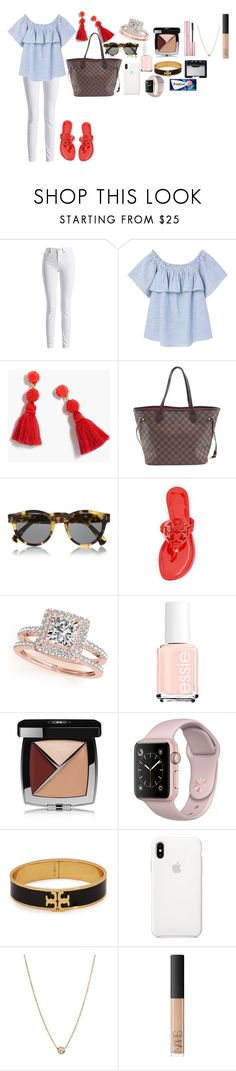 """Happy 4th of July"" by tcolasante on Polyvore featuring Barbour International, MANGO, J.Crew, Louis Vuitton, Illesteva, Tory Burch, Allurez, Chanel, Zoë Chicco and NARS Cosmetics"
