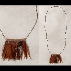 "Anthropologie FANNED FEATHER NECKLACE - Maize/NWT New with Tags - Sold Out - Anthropologie FANNED FEATHER NECKLACE - RETAIL $58 - STYLE #33496233 - COLOR: Maize - Brass, feathers, gold foil - Maize: 30""L;  3"" bib - Imported Anthropologie Jewelry Necklaces"