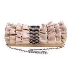 Ladies Classic Flora Satin Clutch Evening Party Handbag Wedding Purse Wallet Apricot
