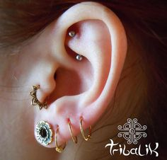 Lotus Flower Brass Tragus Ring Small Septum Ring Helix by TRIBALIK