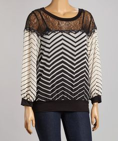 Love this White & Black Stripe Lace Overlay Tee - Plus by Tua Plus on #zulily! #zulilyfinds