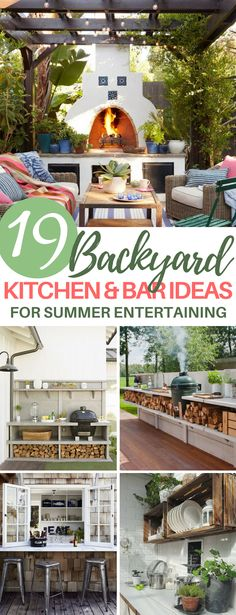 These 19 Outdoor Kitchen and Bar Ideas Are Perfect for Entertaining Guests at Parties! There are even ideas for small grills and portable bars. Landschaftsbau Terrasse unterhaltsam Outdoor Kitchen Ideas for Backyard Entertaining - DIYBunker Backyard Bar, Backyard Kitchen, Backyard Lighting, Backyard Ideas, Wedding Backyard, Modern Backyard, Patio Ideas, Outdoor Ideas, Garden Ideas