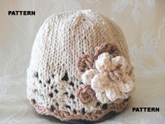 Knitting Pattern for Baby Hat-Children Clothing-Lace Cloche-Hand Knitted BABY HAT PATTERN in Ivory and Beige - Neutral Nuance. $4.99, via Etsy.