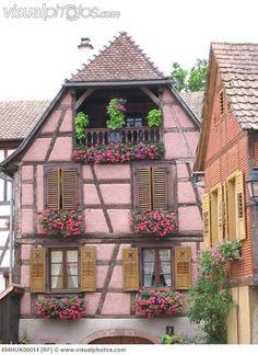 France, Alsace, Haut Rhin, Colmar, half-timbered houses