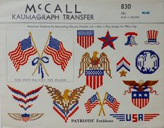 McCall 830: Patriotic emblems embroidery pattern from 1940