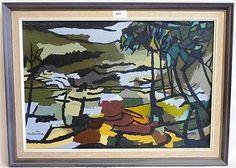"Douglas Macdiarmid ( Born 1922) Oil on Board "" Tropical Beach Scene"" Signed and Dated 1973 15"" x 21"""