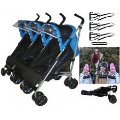 Citi Elite Triple Pushchair Electric Blue with Triple Safety Reins 0700112380556