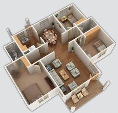 House Designs In Kenya, Simple Bungalow House Designs, Bungalow Haus Design, 4 Bedroom House Designs, Three Bedroom House Plan, 3 Bedroom Bungalow, Small Modern House Plans, Modern Small House Design, Simple House Design
