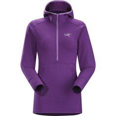 Arc'teryx Zoa Hooded Fleece (105 AUD) ❤ liked on Polyvore featuring tops, hoodies, light weight hoodies, fleece hoodie, lightweight hoodies, purple top and purple hooded sweatshirt
