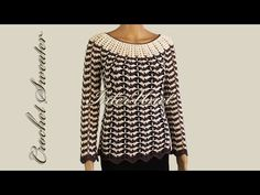 Wavy striped sweater – crochet pullover with sleeves - YouTube