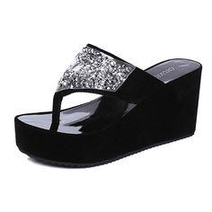 46f292e78e808 Bling Crystal Rhinestones Sandals Woman Platform Thick Bottom Flip Flops  Summer Casual Beach Wedges Shoes