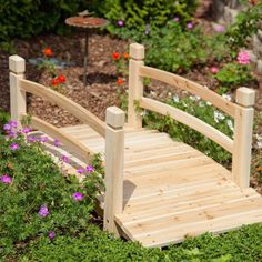 Create your own garden oasis with this Garden Bridge with Railings in Fir Wood. Whether it crosses an actual stream or one made simply of flowers, this bridge will enhance the beauty of your yard Wood Pergola, Deck With Pergola, Pergola Plans, Diy Pergola, Pergola Shade, Patio Roof, Pergola Kits, Pergola Ideas, Pergola Roof
