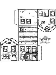 Papercraft house 3 - Cut-Out Pattern Coloring Pages, Colouring Pages, Coloring Books, Paper Doll House, Paper Houses, Cardboard Paper, Paper Toys, Cardboard Gingerbread House, House Template