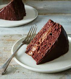 Vegan Chocolate Cake with Buttercream Filling – A Couple Cooks vegan cake food 52 - Vegan Cake Vegan Dessert Recipes, Vegan Sweets, Just Desserts, Cake Recipes, Chocolate Filling, Vegan Chocolate, Chocolate Cake, Chocolate Frosting, Food Cakes