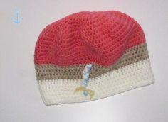 """hvide Häkelmütze """"Himbeereis"""" ~ Colour Blocking in pink beige weiss"""