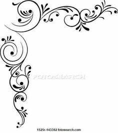 Element for design, corner flower, vector Drawing Stencil Patterns, Stencil Designs, Designs To Draw, Embroidery Patterns, Page Borders Design, Border Design, Molduras Vintage, Clip Art, Swirl Design