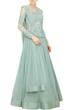 Ridhi Mehra presents Sea blue peplum lehenga.