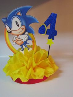Sonic Hedgehog Birthday Party Centerpiece by KhloesKustomKreation, $17.00