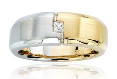 Unique White and Yellow Gold 2-Tone Wedding Band with Princess Cut Diamond http://stores.channeladvisor.com/gemstoneking/Items/shd-mwp6922yw?=shd-mwp6922yw=AMAZING%20PRINCESS%20CUT%20DIAMOND%2014K%202-TONE%20GOLD%20MEN%27S%20RING
